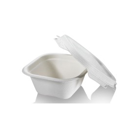 Barquette carrée biodégradable en canne à sucre 350 ml par 125